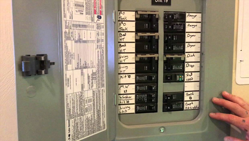 this image shows an electrical breaker panel